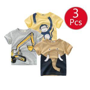 27kids 3pcs lots 27kids 3pc Dinosaur Pattern Boys T Shirt for Kids Baby's Tops t-shirt Cotton Children Short Sleeve Clothes Y200704