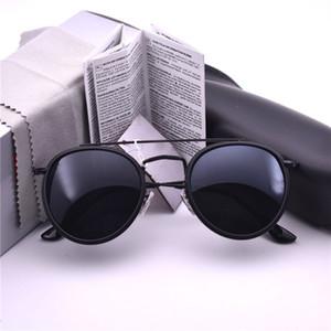 Top quality Mulheres Homens marca Espelho 3647 óculos de metal rodada óculos de sol UV400 óculos de Sol Retro Óculos De Sol Condução com caixa e caixa