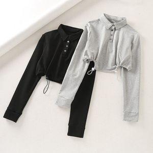 Herbst-Frauen-beiläufige graue kurze Spitze Shirts Langarm Female Black Front Buttons Crop Tops Lose Cotton Tee Jumpers