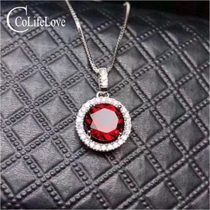 100% naturel grenat pendentif pour femme vin rouge grenat pendentif solide 925 argent sterling grenat bijoux cadeau d'anniversaire pour fille