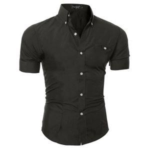 Luxus Herren Slim Fit T-Shirt Kurzarm Stylish Business Formal Casual T-Shirt Oberteile Weiß Rosa Blau Schwarz Braun Grau