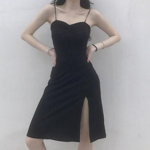 Black Women Dress Summer Split High Waist Bodycon Dresses Punk Girls Straped Slim Streetwear Party Club Mini Dress AFC599