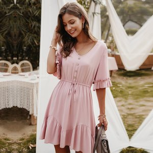 2020 New Elegant Solid V Neck Spring Summer Dress Lace Up Button Ruffles Sleeve A Line Mini Dress Pink Yellow