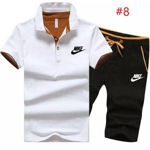 Estate uomo breve manicotto di marca a due pezzi bianco nero Polo camicia pantaloncini capris casuali lettera sportivo abiti plus size tute 1423