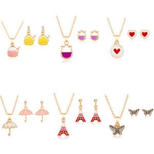 Rinhoo niños pendientes del collar de la historieta de sistemas de la joyería de las muchachas de la mariposa del gato lindo del corazón en forma de joyas Conjunto de regalo de cumpleaños de la Navidad
