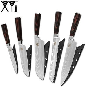 XYj 5 Stück Küchenmesser Laser Damaskus Muster Klinge Hochwertigem Edelstahl Kochmesser Set