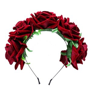 Traje de Cosplay banda para el cabello elegantes flores de Rose diadema corona de la fiesta de boda para los apoyos de accesorios Color Rojo Oscuro