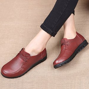 Designer Women Flats Genuine Leather Shoes Female Slip on Loafers Anti Slip Moccasins Casual Zapatillas Mujer 2020 Plus Size CJ191226