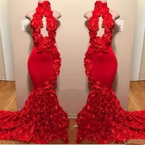 Kırmızı Yüksek Boyun Gelinlik Modelleri Seksi El Yapımı Çiçekler Mermaid Abiye giyim Sayısı Tren Siyah Kız Afrika Resmi Giyim Backless Parti Elbise