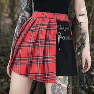 Womens Designer Vêtements pour femmes Casual Holiday Plaid Imprimé Jupes Plaid Flare Jupes
