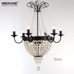 الثريا الحديثة تركيبات الإضاءة خمر كريستال قلادة ضوء الحديد المطاوع الأبيض الكروم الأسود الثريا في غرفة المعيشة لوفت