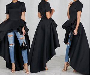 Las mujeres de alto bajo capas de vestir con volantes fiesta de la noche desgaste de longitud irregular por la noche vestidos normales vestidos de verano ropa más el tamaño 3XL