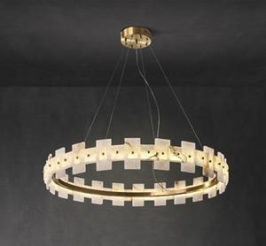 Oro Marmo Nordic Copper Anello Lampadario Hotel di lusso Casa Soggiorno Cucina Camera lampada a sospensione illuminazione della decorazione Fixture PA0621