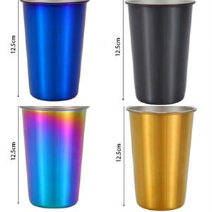 Outdoor Camping Kühler Becher Einfache Farbe Wasser Tasse Exquisite Edelstahl Bier Tumbler Mit Deckel Heißer Verkauf 12 qh