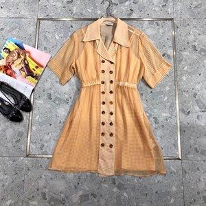 100% seda 2020 del vestido de la colección de verano de lujo de alta calidad marca italiana de Milán diseñador impresa tela escocesa doble de pecho Camisa Tipo de dos piezas