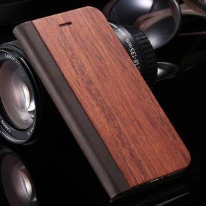 Holz PU PC Wallet-Schutzhülle für iPhone XS Max XR X 8 7 6 6S Plus-Ständer Flip-Hüllen-Taschen-echter Bambus Leder-Standplatz-Abdeckung