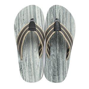 Hot Selling England Flip-flops Summer Flat Heel Wood Grain Knitted Belt Comfortable Flip-flops MEN'S Beach Slippers