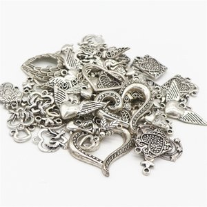 Tibetan Silver Alloy Heart Charms Pendants Wholesale Bulk Lots Jewelry Making Charms Mixed Smooth DIY for Necklace Bracelet Jewelry Making