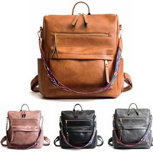 Kadın PU Sırt Çantası Çanta Su Geçirmez Bookbag Crossbody Omuz Çantası İşlevli Çanta Okul Sırt Çantaları Ayrılabilir Renkli Kemer LJJA3484