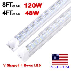 En forma de V-4 pies 8 pies 120W lateral doble 4 filas de tubos LED luces de tubo LED integrado accesorios ligeros SMD2835 LED Luces tienda