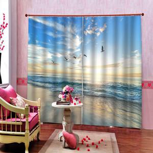 Tamanho personalizado cortinas do sol Mar Praia 3D da paisagem da água Horizonte Natureza Cenário janela da sala Blackout Curtain Decor Interior