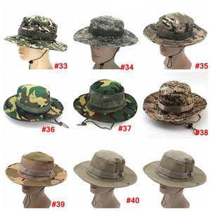 Ejército plegable del sombrero del cubo deporte al aire libre del acoplamiento del casquillo militar camuflaje selva Adultos Hombres Mujeres vaquero Boonie los sombreros para LJJA3704 Pesca