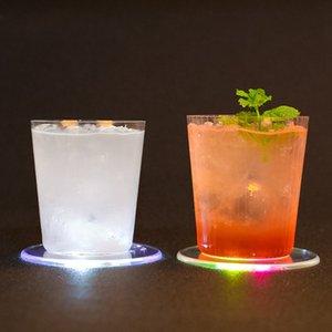 LED Light Up Coaster Pad Mat Sous-verres Coupes acrylique pour boissons Bar Bière Boisson Bar mariage Décoration Party ZZA1932 200pcs