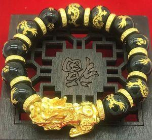 Bracelet en or 3D plaqué Pixiu Perles en obsidienne noire Bracelet de transfert de transfert Bijoux Animaux Chinois Feng Shui