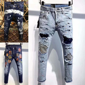 H826 Mens 2019 Luxury Designer Clothes Print letters Mens Designer Jeans European And American Ripped Jeans Size 28-38
