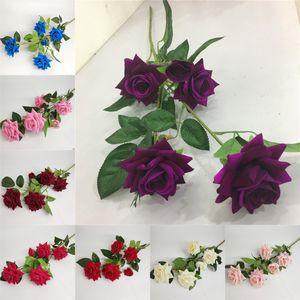 5 Blüte Flanell Roses Einzel-Zweig der Kunstseide-Rosen-Hochzeit Wohnzimmer Startseite DIY Dekoration Fake Flowers