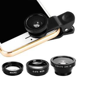 3-em-1 grande angular macro fisheye lente da câmera Kits Lentes De Olho De Peixe Telefone Móvel com Clipe 0.67x para iPhone Samsung Todos Os Telefones