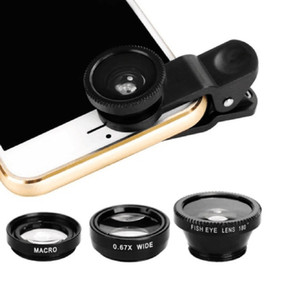 Kits de cámara con lente ojo de pez macro gran angular 3 en 1 Teléfono móvil Lentes de ojo de pez con clip 0.67x para iPhone Todos los teléfonos Samsung