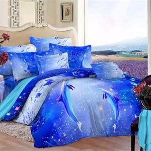 Ocean Blue 3d Dolphin cama Set Rainha Rei de cama de algodão folhas impressas Duvet Cover fronha Beautiful Home Textiles Set
