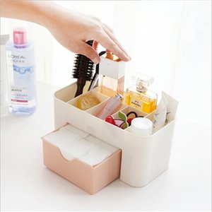 Home finishing double layer Plastic Ladies men Makeup Organizer Make Up Brush Jewelry Box with Drawer Cotton Swabs Stick Storage case