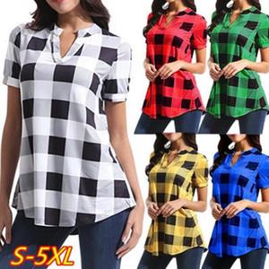 Buffalo Chemises à carreaux Plaid V-Neck T-shirts manches courtes femmes Hauts Pull Grille Casual T-shirt Filles Taille Plus T-shirts Blouses Blusas C7309