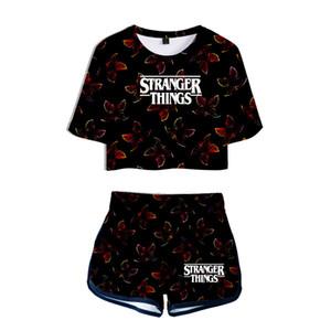 Conjuntos de mujer de verano Stranger Things 3 Camiseta de manga corta con estampado en 3D + Shorts Trajes de chándal Mujer Chándales Traje de dos piezas
