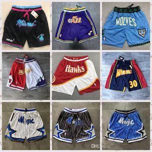 2020 Retro-Männer Gerade Don Shorts mit Taschen Authenticnba genähtes Jogginghose All City Team Name Throwback Basketballshorts Größe S-XXL