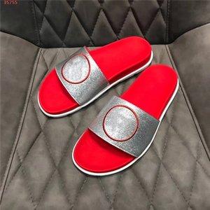 Para hombre de color zapatillas de cuero, cuero de color Multi-zapatillas zapatillas de playa de escapada con el empaquetado original 38-45 zapatillas de interior ducha
