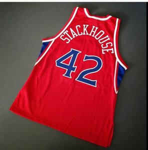 Custom Men Youth women Vintage Jerry Stackhouse Vintage Champion College Basketball Jersey Size S-4XL or custom any name or number jersey