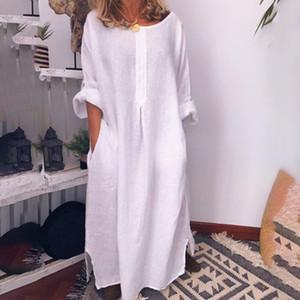 Frauen-Baumwollleinen Maxi-Maxi-Kleid-Weiß Taschen O-Ansatz feste Lange Kleider Frühling Sommer 2020 Fashion lose Kleidung Frau T200415