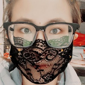 Embroidery Lace Face Adult Comfortable Washable Mouth Face Cover Fashion Girl Black Party Masque 5 Colors