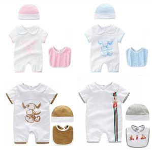 Venta al por menor Baby Rompers Verano Baby Girl Boy Ropa niños escalada Recién nacido mameluco Infantil Monos dibujos animados mameluco impreso + hat + bib