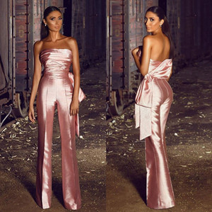 2020 Pink Women Prom Jumpsuits Strapless Bling Satin Floor Length Bow Cheap Evening Gowns Custom Made Formal Dress