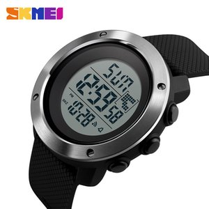 Skmei Business Simple Watch Men Pu Strap Multifunction Led Display Watches 5bar Waterproof Digital Watch Reloj Hombre 1267 Y19052103