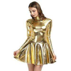 17 Colors Women Fashion Style Mini Dress Turtleneck Long Sleeve Vestido A-Line Pleated Hem Dress Night Party Dancing Clubwear