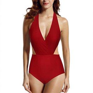 Costumi da bagno da donna Sexy One Piece Tummy Control anteriore Cross Backless Costume da bagno Costume da bagno Beach Bikini Swimwear Rosso