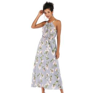 Chiffon shirt Dress Summer Sleeveless Halter Mid Calf Floral Printed A Line Vintage Strapless Summer shirt Dress Beach Wonder