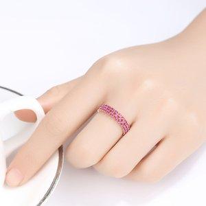 CZCITY Genuino 925 anillos de plata esterlina Eternity for Women compromiso de la boda joyería fina Ronda piedra preciosa del Topaz Anillos SR0299 Y200321