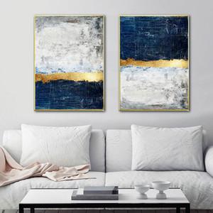 Abstrakte Malerei Blau Malerei Blau-Wand-Kunst Bild Leinwand-Plakat-Druck-Wand-Kunst Bilder Wohnzimmer-Dekoration
