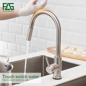 Touch Control aço inoxidável FLG Torneiras de cozinha Smart Sensor Cozinha Mixer Toque torneira para Pull Kitchen Sink baixo Tap T200424